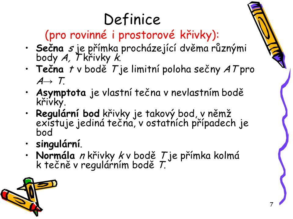 7 Definice (pro rovinné i prostorové křivky): Sečna s je přímka procházející dvěma různými body A, T křivky k.