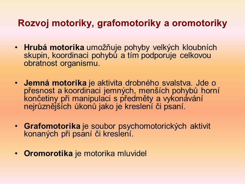 Rozvoj motoriky, grafomotoriky a oromotoriky Hrubá motorika umožňuje pohyby velkých kloubních skupin, koordinaci pohybů a tím podporuje celkovou obratnost organismu.