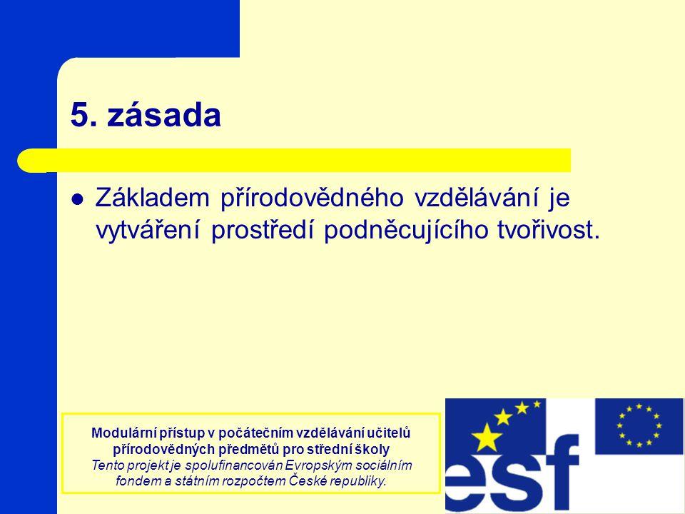 Modulární přístup v počátečním vzdělávání učitelů přírodovědných předmětů pro střední školy Tento projekt je spolufinancován Evropským sociálním fonde