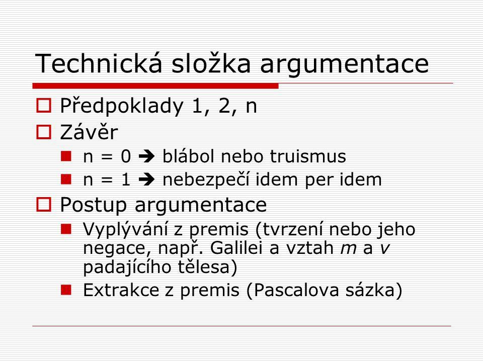 Technická složka argumentace  Předpoklady 1, 2, n  Závěr n = 0  blábol nebo truismus n = 1  nebezpečí idem per idem  Postup argumentace Vyplývání z premis (tvrzení nebo jeho negace, např.