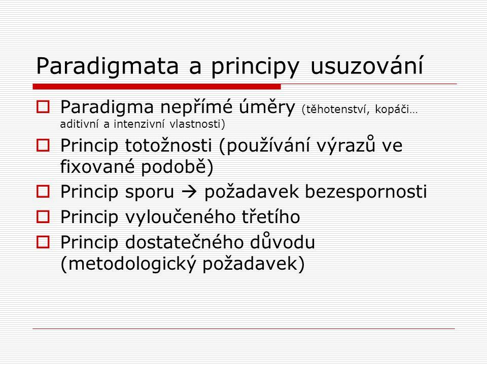 Paradigmata a principy usuzování  Paradigma nepřímé úměry (těhotenství, kopáči… aditivní a intenzivní vlastnosti)  Princip totožnosti (používání výrazů ve fixované podobě)  Princip sporu  požadavek bezespornosti  Princip vyloučeného třetího  Princip dostatečného důvodu (metodologický požadavek)