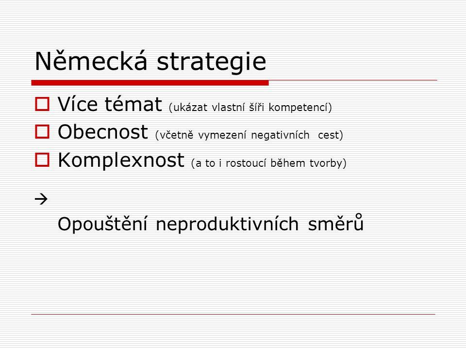 Německá strategie  Více témat (ukázat vlastní šíři kompetencí)  Obecnost (včetně vymezení negativních cest)  Komplexnost (a to i rostoucí během tvorby)  Opouštění neproduktivních směrů