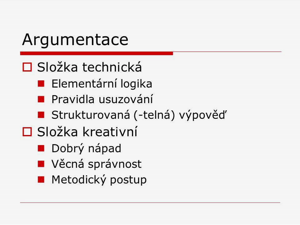 Argumentace  Složka technická Elementární logika Pravidla usuzování Strukturovaná (-telná) výpověď  Složka kreativní Dobrý nápad Věcná správnost Metodický postup