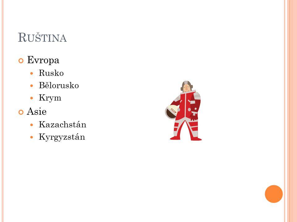R UŠTINA Evropa Rusko Bělorusko Krym Asie Kazachstán Kyrgyzstán