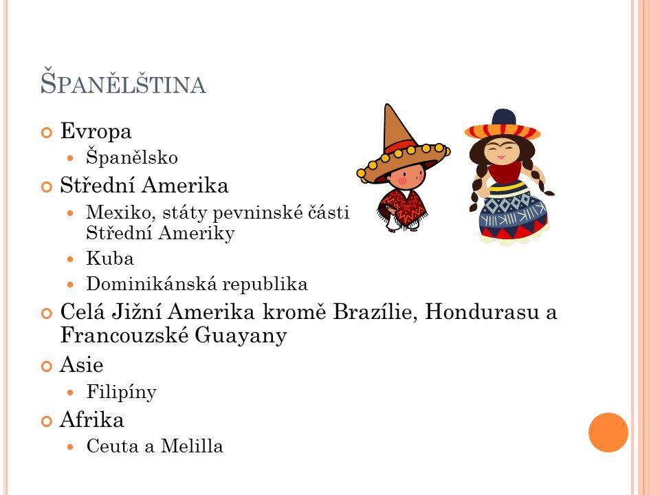 Š PANĚLŠTINA Evropa Španělsko Střední Amerika Mexiko, státy pevninské části Střední Ameriky Kuba Dominikánská republika Celá Jižní Amerika kromě Brazílie, Hondurasu a Francouzské Guayany Asie Filipíny Afrika Ceuta a Melilla
