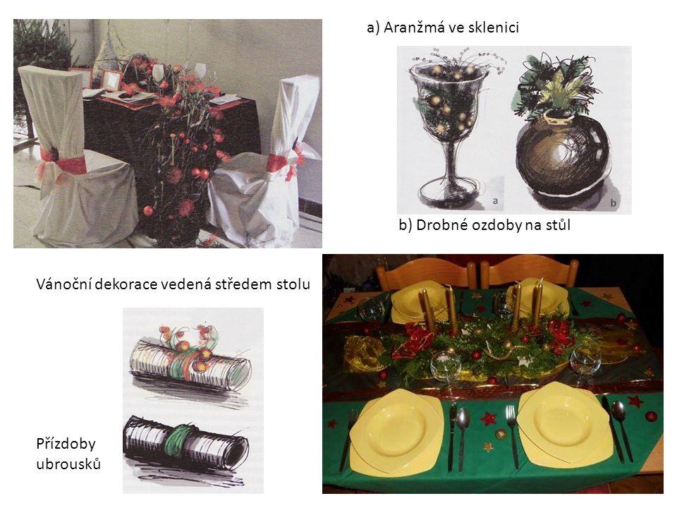 Vánoční dekorace vedená středem stolu a) Aranžmá ve sklenici b) Drobné ozdoby na stůl Přízdoby ubrousků