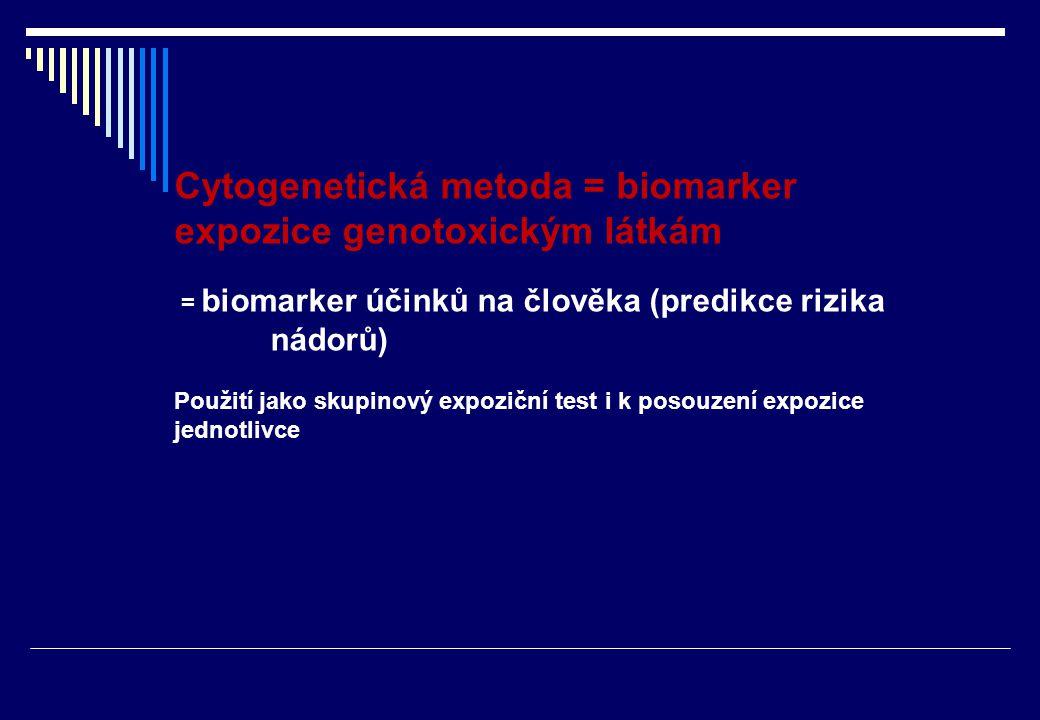 Hodnocení získaných chromozomálních aberací (ZCHA): skupina  20 osob – hodnoceno à 100b.