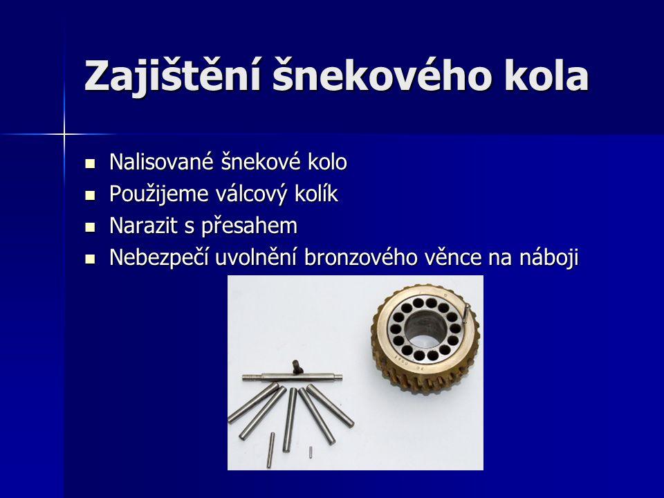 Zajištění šnekového kola Nalisované šnekové kolo Nalisované šnekové kolo Použijeme válcový kolík Použijeme válcový kolík Narazit s přesahem Narazit s