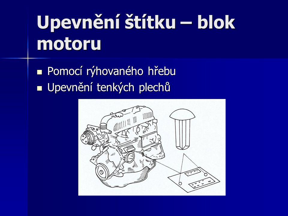 Upevnění štítku – blok motoru Pomocí rýhovaného hřebu Pomocí rýhovaného hřebu Upevnění tenkých plechů Upevnění tenkých plechů
