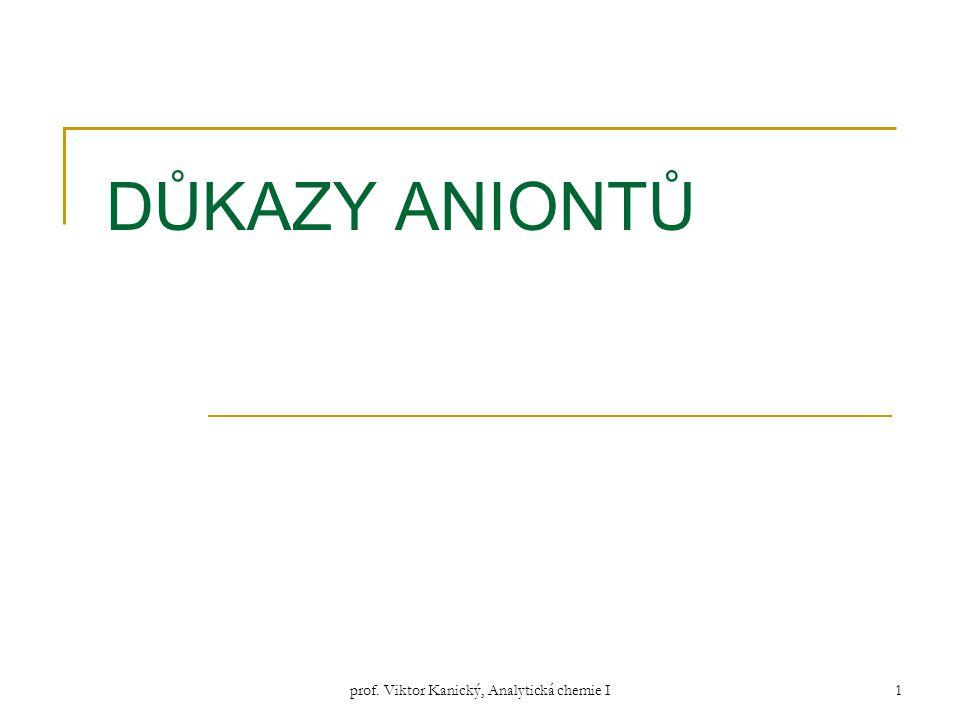 prof. Viktor Kanický, Analytická chemie I1 DŮKAZY ANIONTŮ