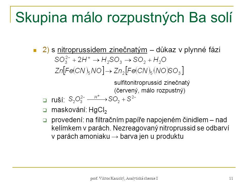 prof. Viktor Kanický, Analytická chemie I 11 Skupina málo rozpustných Ba solí 2) s nitroprussidem zinečnatým – důkaz v plynné fázi sulfitonitroprussid