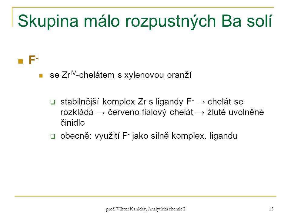prof. Viktor Kanický, Analytická chemie I 13 Skupina málo rozpustných Ba solí F - se Zr IV -chelátem s xylenovou oranží  stabilnější komplex Zr s lig