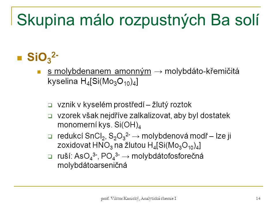 prof. Viktor Kanický, Analytická chemie I 14 Skupina málo rozpustných Ba solí SiO 3 2- s molybdenanem amonným → molybdáto-křemičitá kyselina H 4 [Si(M