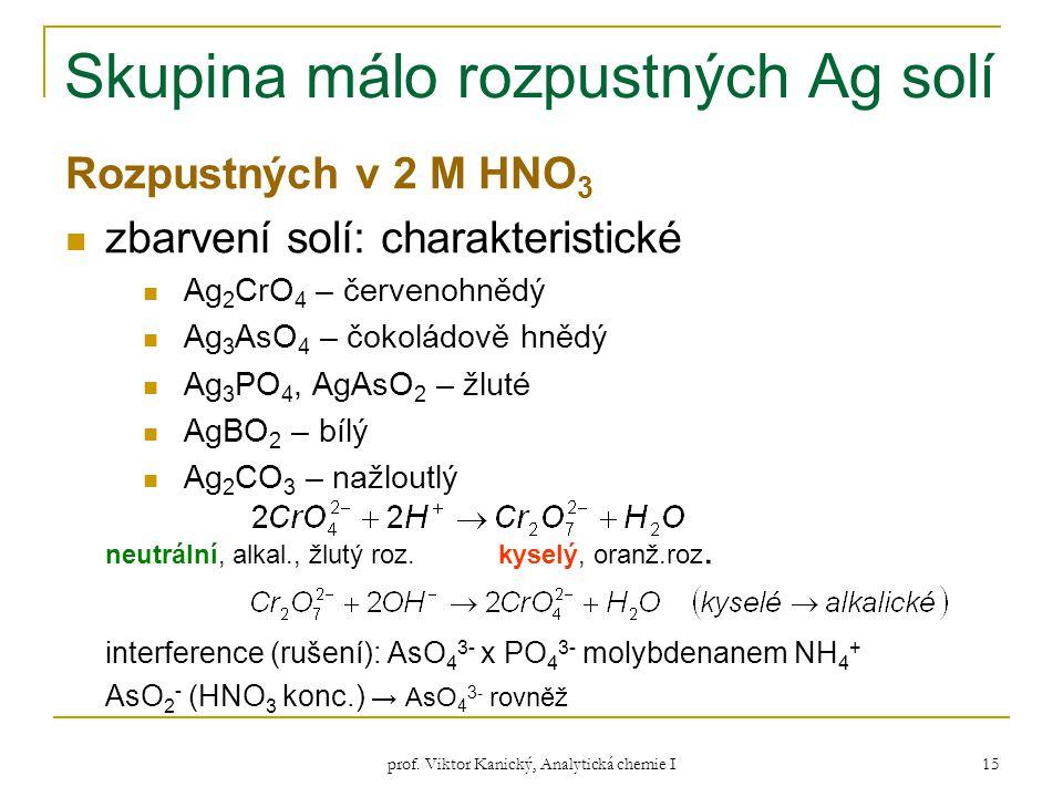 prof. Viktor Kanický, Analytická chemie I 15 Skupina málo rozpustných Ag solí Rozpustných v 2 M HNO 3 zbarvení solí: charakteristické Ag 2 CrO 4 – čer