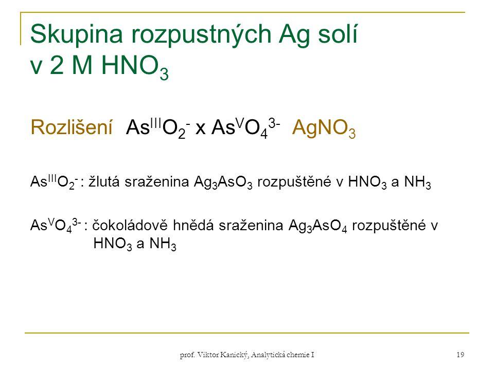 prof. Viktor Kanický, Analytická chemie I 19 Skupina rozpustných Ag solí v 2 M HNO 3 Rozlišení As III O 2 - x As V O 4 3- AgNO 3 As III O 2 - : žlutá