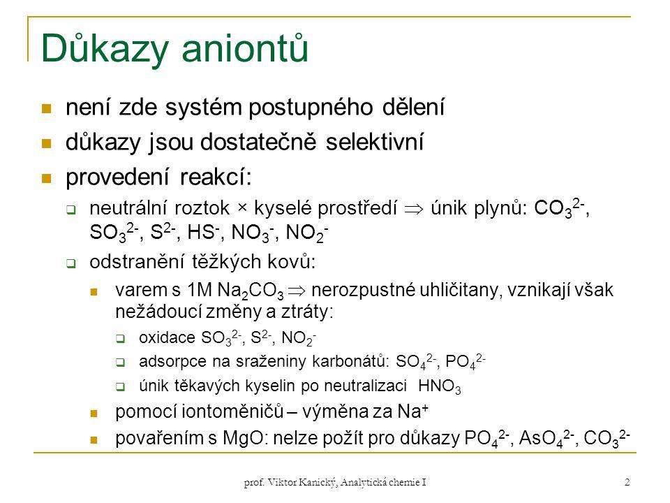 prof. Viktor Kanický, Analytická chemie I 2 Důkazy aniontů není zde systém postupného dělení důkazy jsou dostatečně selektivní provedení reakcí:  neu