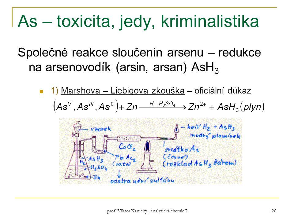 prof. Viktor Kanický, Analytická chemie I 20 As – toxicita, jedy, kriminalistika Společné reakce sloučenin arsenu – redukce na arsenovodík (arsin, ars
