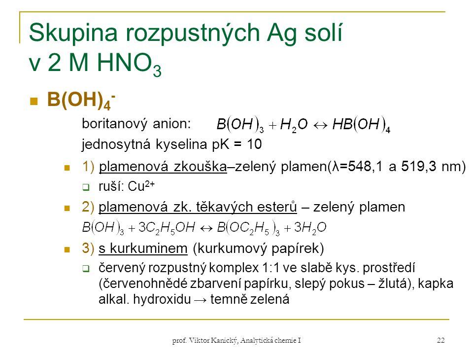prof. Viktor Kanický, Analytická chemie I 22 Skupina rozpustných Ag solí v 2 M HNO 3 B(OH) 4 - boritanový anion: jednosytná kyselina pK = 10 1) plamen