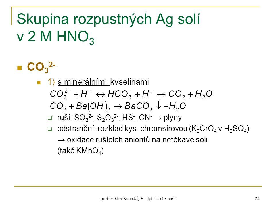 prof. Viktor Kanický, Analytická chemie I 23 Skupina rozpustných Ag solí v 2 M HNO 3 CO 3 2- 1) s minerálními kyselinami  ruší: SO 3 2-, S 2 O 3 2-,