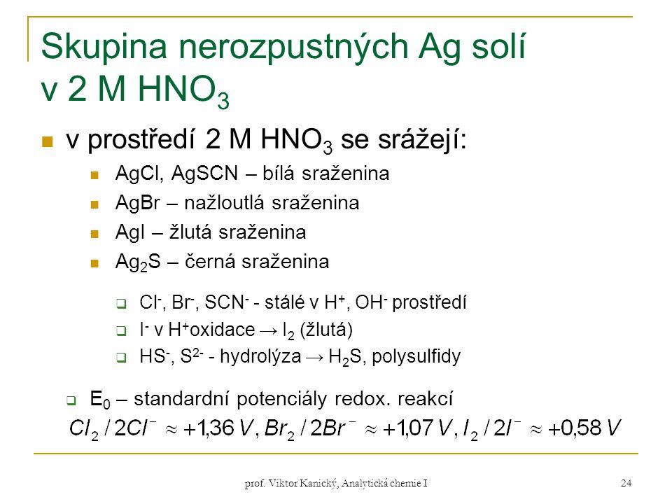 prof. Viktor Kanický, Analytická chemie I 24 Skupina nerozpustných Ag solí v 2 M HNO 3 v prostředí 2 M HNO 3 se srážejí: AgCl, AgSCN – bílá sraženina
