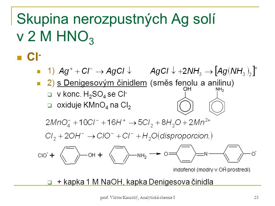 prof. Viktor Kanický, Analytická chemie I 25 Skupina nerozpustných Ag solí v 2 M HNO 3 Cl - 1) 2) s Denigesovým činidlem (směs fenolu a anilinu)  v k
