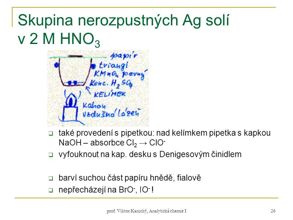 prof. Viktor Kanický, Analytická chemie I 26 Skupina nerozpustných Ag solí v 2 M HNO 3  také provedení s pipetkou: nad kelímkem pipetka s kapkou NaOH