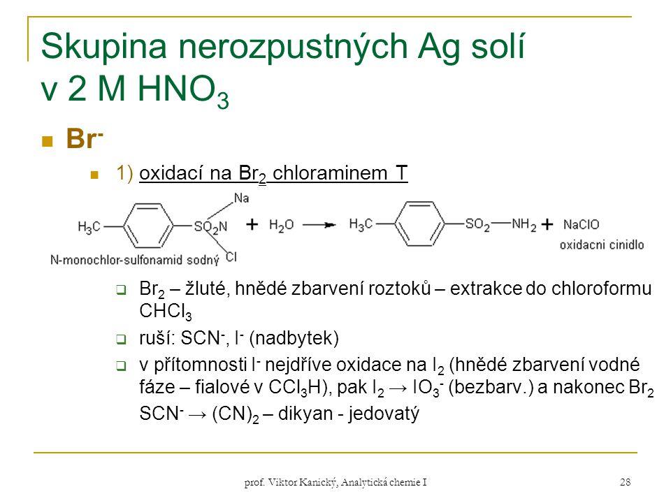 prof. Viktor Kanický, Analytická chemie I 28 Skupina nerozpustných Ag solí v 2 M HNO 3 Br - 1) oxidací na Br 2 chloraminem T  Br 2 – žluté, hnědé zba