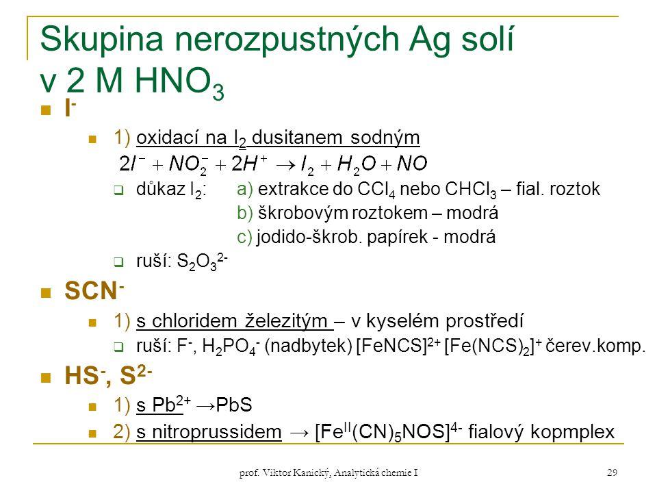 prof. Viktor Kanický, Analytická chemie I 29 Skupina nerozpustných Ag solí v 2 M HNO 3 I - 1) oxidací na I 2 dusitanem sodným  důkaz I 2 : a) extrakc