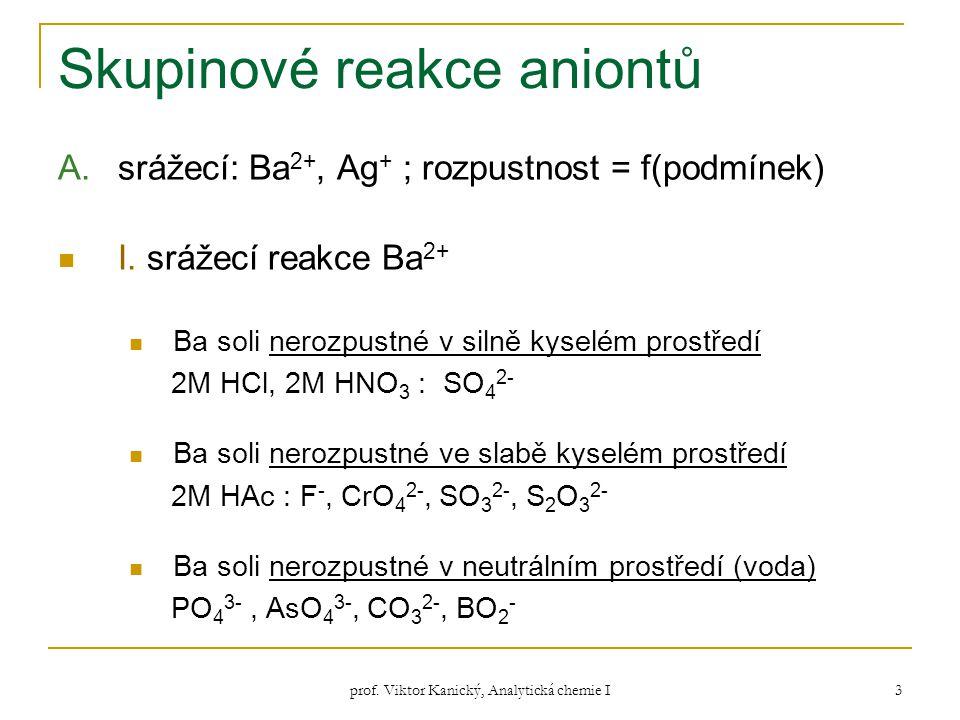 prof. Viktor Kanický, Analytická chemie I 3 Skupinové reakce aniontů A.srážecí: Ba 2+, Ag + ; rozpustnost = f(podmínek) I. srážecí reakce Ba 2+ Ba sol