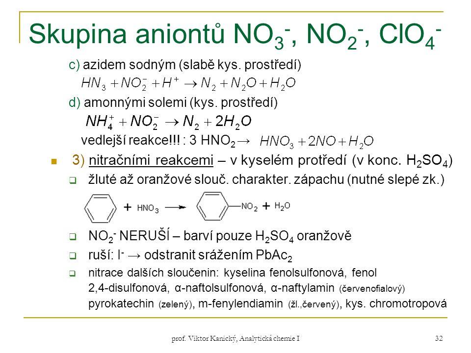prof. Viktor Kanický, Analytická chemie I 32 Skupina aniontů NO 3 -, NO 2 -, ClO 4 - c) azidem sodným (slabě kys. prostředí) d) amonnými solemi (kys.