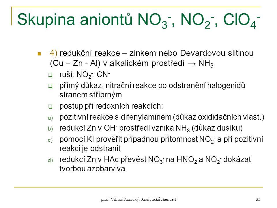 prof. Viktor Kanický, Analytická chemie I 33 Skupina aniontů NO 3 -, NO 2 -, ClO 4 - 4) redukční reakce – zinkem nebo Devardovou slitinou (Cu – Zn - A