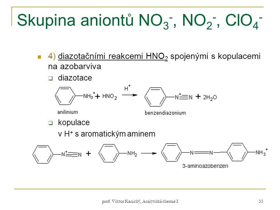 prof. Viktor Kanický, Analytická chemie I 35 Skupina aniontů NO 3 -, NO 2 -, ClO 4 - 4) diazotačními reakcemi HNO 2 spojenými s kopulacemi na azobarvi