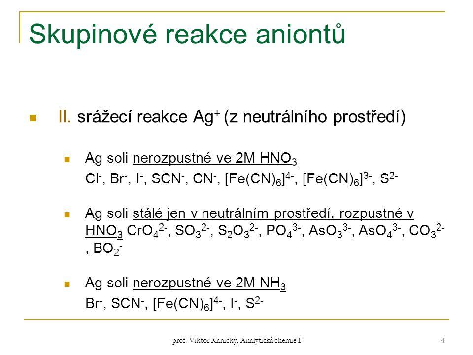 prof. Viktor Kanický, Analytická chemie I 4 Skupinové reakce aniontů II. srážecí reakce Ag + (z neutrálního prostředí) Ag soli nerozpustné ve 2M HNO 3