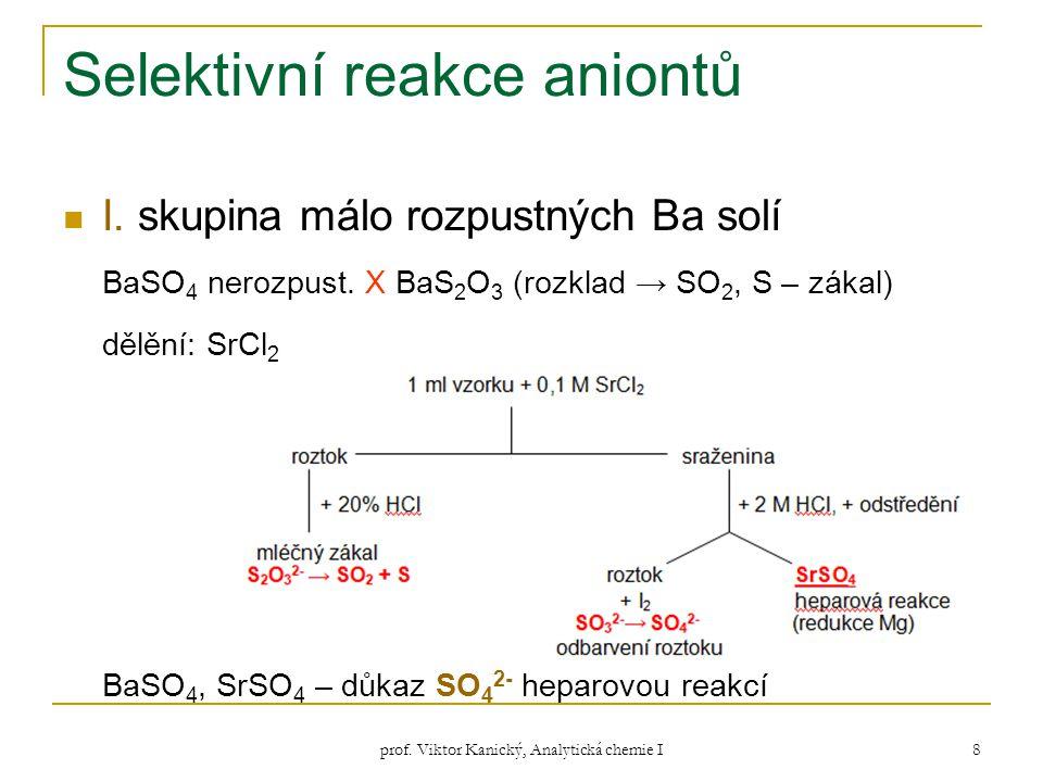 prof. Viktor Kanický, Analytická chemie I 8 Selektivní reakce aniontů I. skupina málo rozpustných Ba solí BaSO 4 nerozpust. X BaS 2 O 3 (rozklad → SO