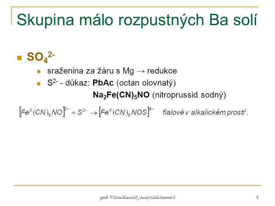 prof. Viktor Kanický, Analytická chemie I 9 Skupina málo rozpustných Ba solí SO 4 2- sraženina za žáru s Mg → redukce S 2- - důkaz: PbAc (octan olovna