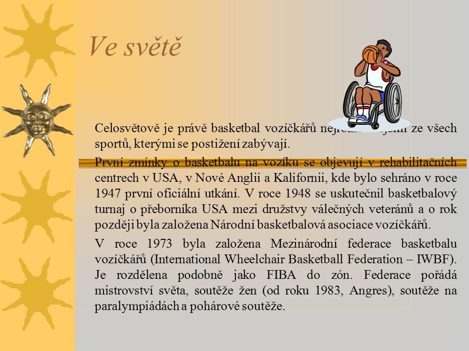 U nás  V České republice (ČR) se basketbal vozíčkářů objevuje jako doplněk rehabilitačních procesů v ústavech v Kladrubech a Hrabáni.