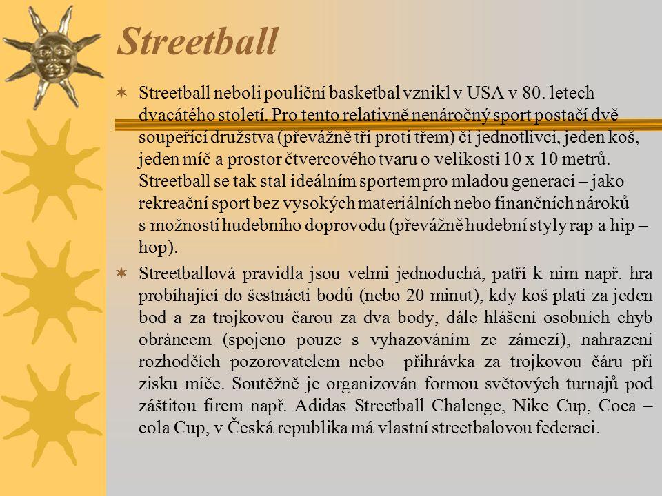 Streetball  Streetball neboli pouliční basketbal vznikl v USA v 80. letech dvacátého století. Pro tento relativně nenáročný sport postačí dvě soupeří