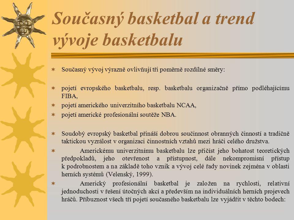 Současný basketbal a trend vývoje basketbalu  Současný vývoj výrazně ovlivňují tři poměrně rozdílné směry:  pojetí evropského basketbalu, resp. bask