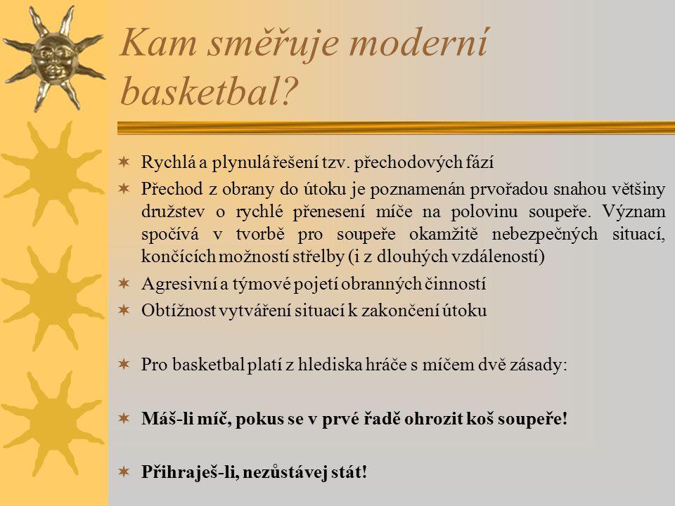 Kam směřuje moderní basketbal?  Rychlá a plynulá řešení tzv. přechodových fází  Přechod z obrany do útoku je poznamenán prvořadou snahou většiny dru