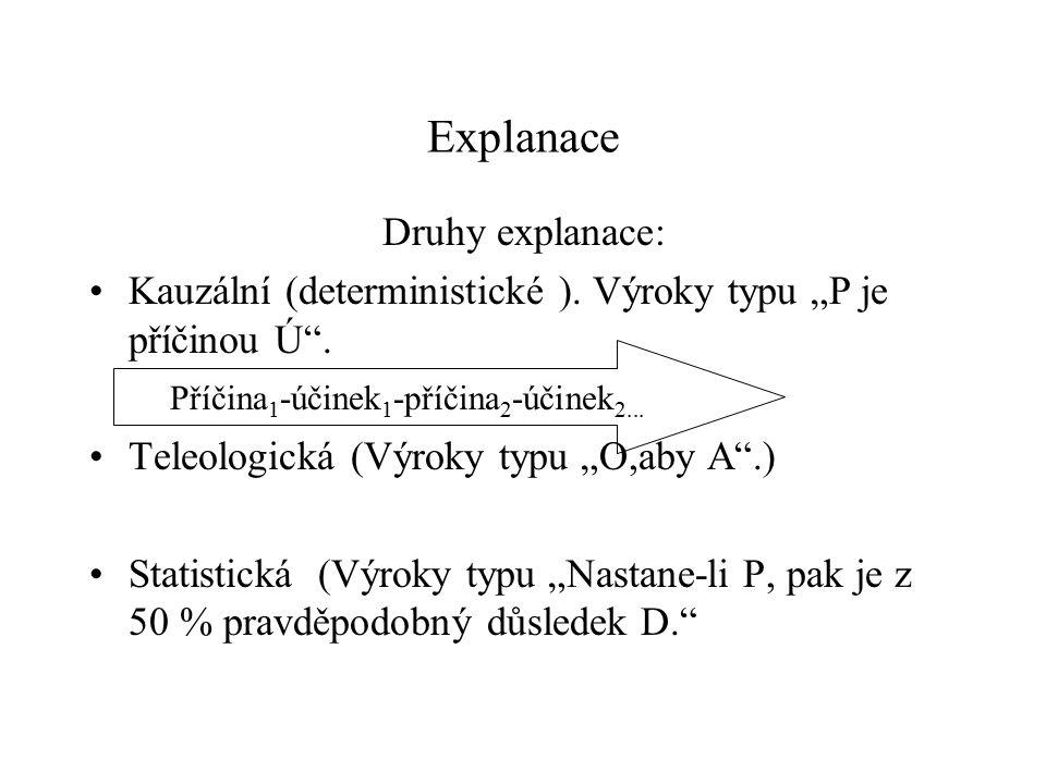 """Explanace Druhy explanace: Kauzální (deterministické ). Výroky typu """"P je příčinou Ú"""". Teleologická (Výroky typu """"O,aby A"""".) Statistická (Výroky typu"""