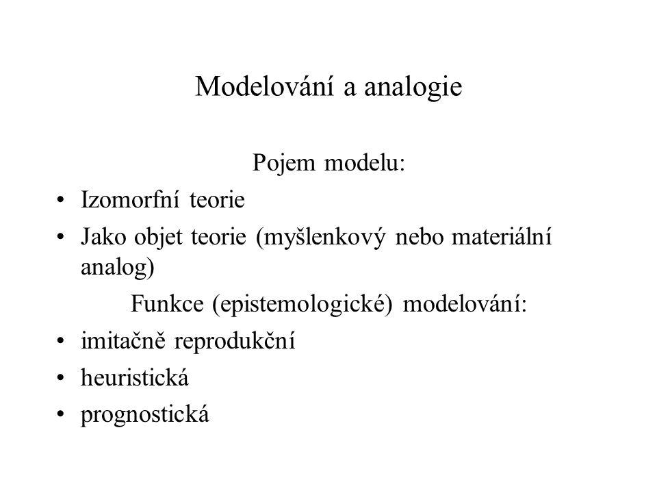 Modelování a analogie Pojem modelu: Izomorfní teorie Jako objet teorie (myšlenkový nebo materiální analog) Funkce (epistemologické) modelování: imitač