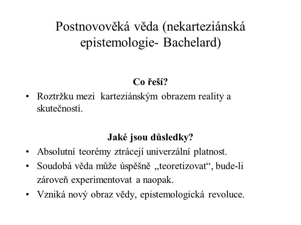 Postnovověká věda (nekarteziánská epistemologie- Bachelard) Co řeší? Roztržku mezi karteziánským obrazem reality a skutečností. Jaké jsou důsledky? Ab