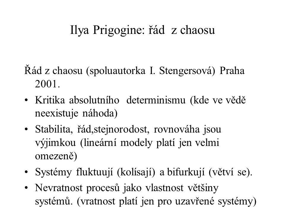 Ilya Prigogine: řád z chaosu Řád z chaosu (spoluautorka I. Stengersová) Praha 2001. Kritika absolutního determinismu (kde ve vědě neexistuje náhoda) S