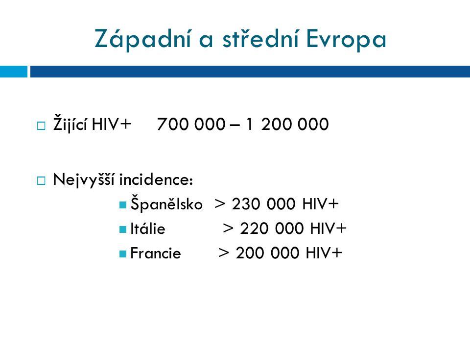 Západní a střední Evropa  Žijící HIV+ 700 000 – 1 200 000  Nejvyšší incidence: Španělsko > 230 000 HIV+ Itálie > 220 000 HIV+ Francie > 200 000 HIV+