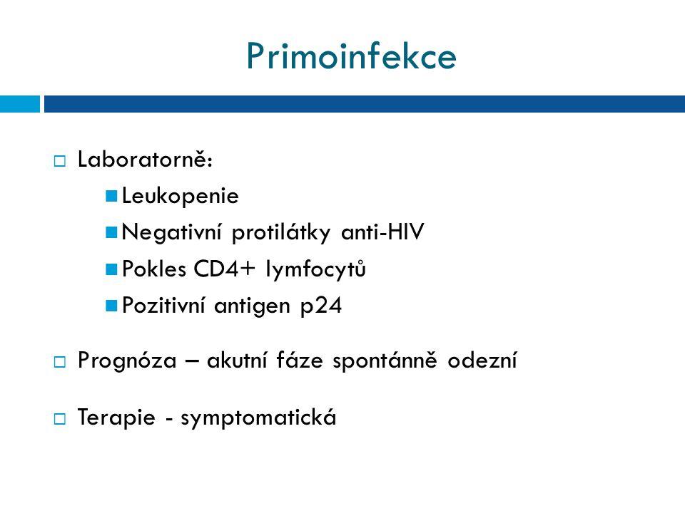 Primoinfekce  Laboratorně: Leukopenie Negativní protilátky anti-HIV Pokles CD4+ lymfocytů Pozitivní antigen p24  Prognóza – akutní fáze spontánně odezní  Terapie - symptomatická