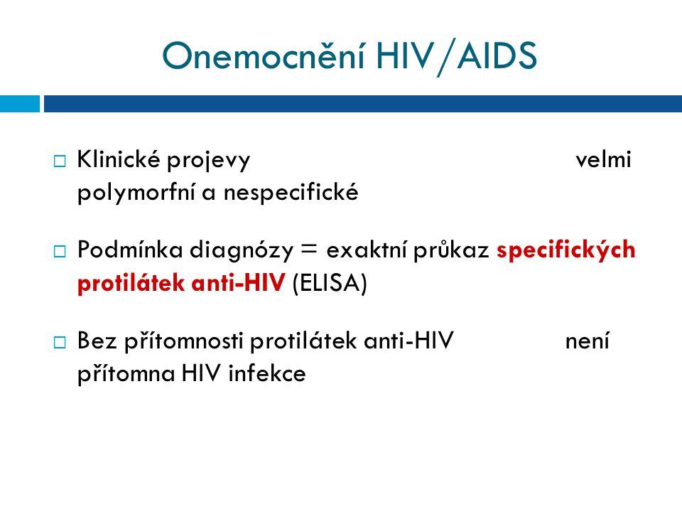 Onemocnění HIV/AIDS  Klinické projevy velmi polymorfní a nespecifické  Podmínka diagnózy = exaktní průkaz specifických protilátek anti-HIV (ELISA)  Bez přítomnosti protilátek anti-HIV není přítomna HIV infekce
