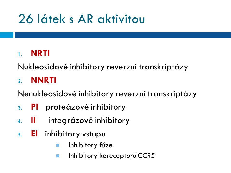 26 látek s AR aktivitou 1.NRTI Nukleosidové inhibitory reverzní transkriptázy 2.