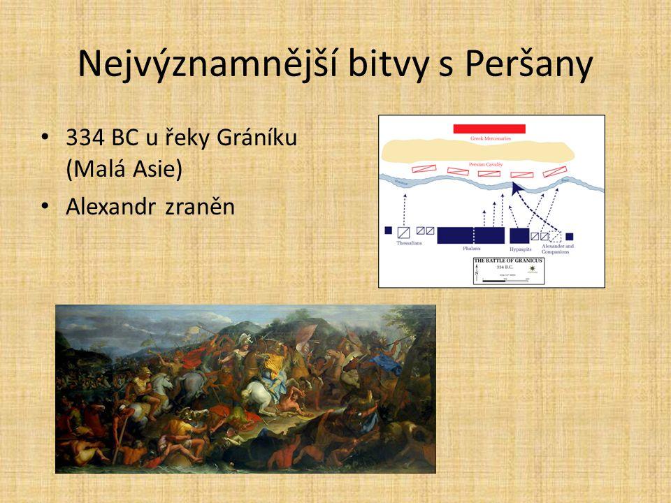 Nejvýznamnější bitvy s Peršany 334 BC u řeky Gráníku (Malá Asie) Alexandr zraněn