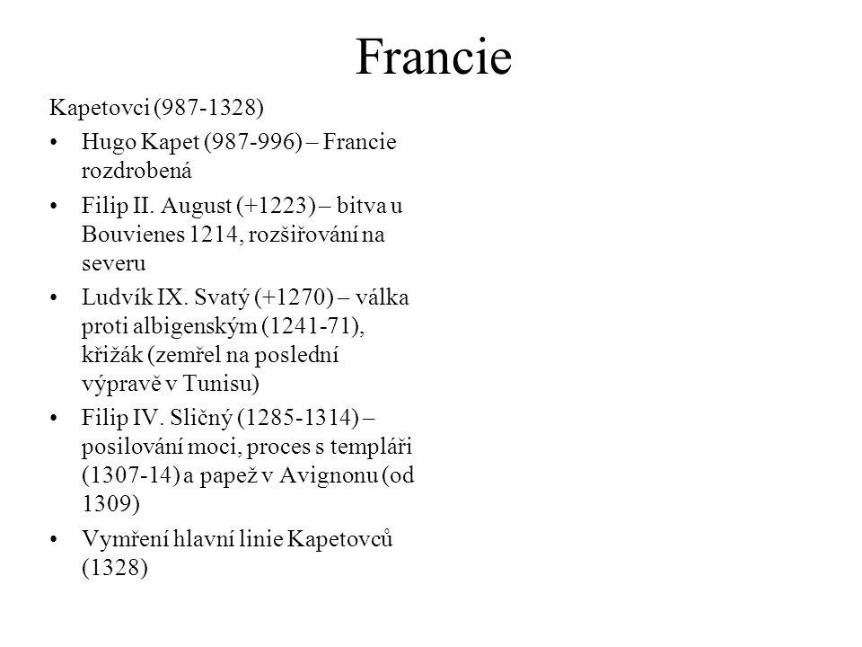 Francie Kapetovci (987-1328) Hugo Kapet (987-996) – Francie rozdrobená Filip II.