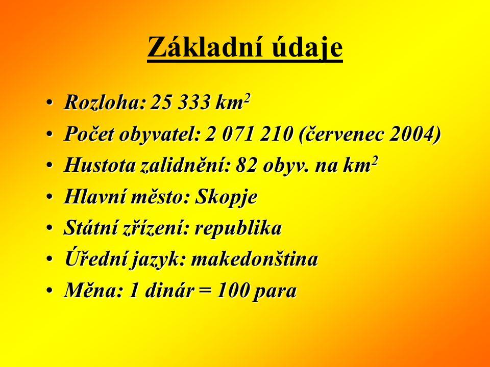 Základní údaje Rozloha: 25 333 km 2Rozloha: 25 333 km 2 Počet obyvatel: 2 071 210 (červenec 2004)Počet obyvatel: 2 071 210 (červenec 2004) Hustota zalidnění: 82 obyv.